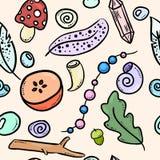 Картина городских doodles ведьмы красочных безшовная Печать вектора иллюстрация штока