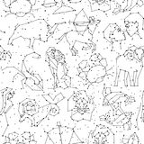 Картина гороскопа безшовная, весь зодиак подписывает внутри стиль созвездия с линией и звездами на белой предпосылке бесконечно бесплатная иллюстрация