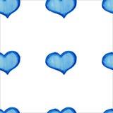 Картина голубых сердец акварели безшовная Стоковые Фотографии RF