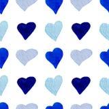 Картина голубых сердец акварели безшовная Стоковые Фото