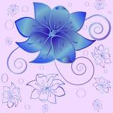Картина голубых цветков Иллюстрация вектора