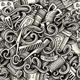 Картина графических doodles парикмахерской художнических безшовная Стоковые Фотографии RF