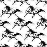Картина грациозно черных лошадей безшовная бесплатная иллюстрация