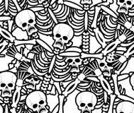 Картина грешников безшовная Скелет в предпосылке ада Орнамент Стоковое Изображение RF