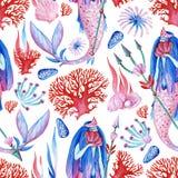Картина гуаши безшовная чудесная подводная с нимфой воды, кораллом и жителями океана для произведения искусства иллюстрация штока