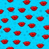 Картина губ безшовная на белой предпосылке Бумажный дизайн печати Абстрактная ретро иллюстрация вектора Ультрамодная ткань, ткань иллюстрация штока
