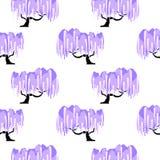 Картина дерева цветения глицинии безшовная иллюстрация штока