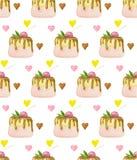 Картина десертов помадок с тортом и плодами губки shortcrust бесплатная иллюстрация