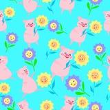 Картина детей ÑŒSeamless '‡ Ð°Ñ ÐŸÐΜÑ со свиньями и цветками на Новый Год 2019 бесплатная иллюстрация