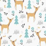 Картина детей безшовная с милыми оленями и живой природой Дизайн, печатание и ткани вектора иллюстрация штока