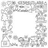 Картина детского сада, вычерченные дети садовничает элементы картина, чертеж doodle, иллюстрация вектора, monochrome, черный, бел бесплатная иллюстрация