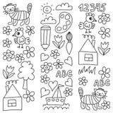 Картина детского сада, вычерченные дети садовничает элементы картина, чертеж doodle, иллюстрация вектора, monochrome, черный, бел иллюстрация вектора