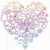 Картина детского сада, вычерченные дети садовничает элементы картина, чертеж doodle, иллюстрация вектора, красочный, белая, гради бесплатная иллюстрация