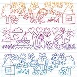 Картина детского сада, вычерченные дети садовничает элементы картина, чертеж doodle, иллюстрация вектора, красочный, белая, гради иллюстрация вектора
