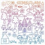 Картина детского сада, вычерченные дети садовничает элементы картина, чертеж doodle, иллюстрация вектора, красочный, белая, гради иллюстрация штока