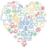 Картина детского сада, вычерченные дети садовничает элементы картина, чертеж doodle, иллюстрация вектора, красочная бесплатная иллюстрация