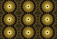 Картина дизайна искусства цифров безшовная с золотыми звездами на черноте Стоковое Фото