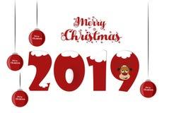 Картина дизайна текста веселого рождества 2019 Падуб, декабрь иллюстрация штока