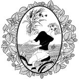Картина для книжка-раскраски для взрослого Винтажная девушка едет велосипед Стоковые Фотографии RF