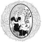 Картина для книжка-раскраски для взрослого Coffe винтажной девушки выпивая Стоковое Фото