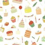 Картина дня рождения вектора безшовная иллюстрация вектора