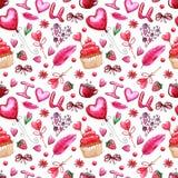 Картина дня ` s валентинки акварели безшовная стоковое изображение