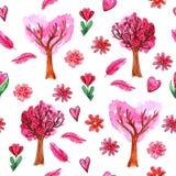Картина дня ` s валентинки акварели безшовная иллюстрация штока