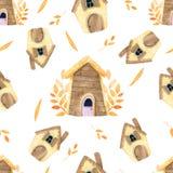 Картина дома мультфильма безшовная в акварели иллюстрация штока