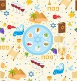 Картина еврейской пасхи безшовная Предпосылка Pesach бесконечная, текстура Еврейский фон праздника также вектор иллюстрации притя Стоковые Изображения