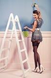 Картина девушки Pinup на стене Стоковое Изображение RF