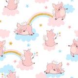 Картина единорога свиньи безшовного вектора милая Печать младенца иллюстрация вектора