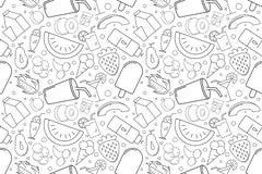 Картина еды лета вектора Предпосылка еды лета безшовная иллюстрация штока