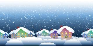 Картина деревни рождества Стоковые Фото