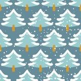 Картина леса зимы безшовная Рождественская елка в снежке текстура Стоковое фото RF