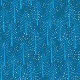 Картина леса зимы безшовная Рождественские елки и backgro снега иллюстрация вектора