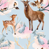 Картина леса зимы безшовная Стоковые Изображения RF
