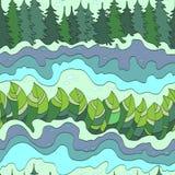 Картина леса и реки лета безшовная Стоковое Изображение RF