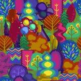 Картина леса с различными деревьями Стоковые Изображения
