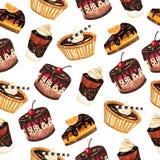 Картина десертов безшовная на белой предпосылке Стоковое Изображение