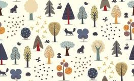 Картина лесных деревьев безшовная бесплатная иллюстрация