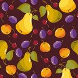 Картина естественных органических ягод безшовная с яблоком, грушей, вишней, иллюстрацией сливы Стоковое Изображение