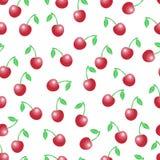 Картина лета безшовная с красными вишнями на белом ба Стоковые Фотографии RF