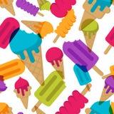 Картина лета вектора безшовная с multicolor мороженым Конусы мороженое и lolly льда на белой предпосылке Стоковые Фотографии RF