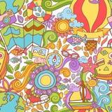 Картина лета перемещения безшовная с элементами doodle иллюстрация вектора