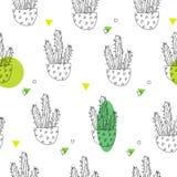 Картина лета с кактусами контура и зелеными пятнами на белой предпосылке Орнамент для ткани и оборачивать вектор Стоковое Фото