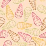 Картина детального графического конуса мороженого безшовная Красочные планы Светлая предпосылка Стоковая Фотография