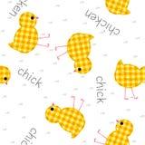 Картина детей безшовная с цыплятами и надписями, лоскутным одеялом, Пэт Стоковое Изображение RF