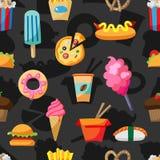 Картина еды улицы безшовная Стоковая Фотография