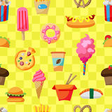 Картина еды улицы безшовная Стоковое Изображение