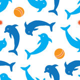 Картина дельфина безшовная Стоковое Изображение RF